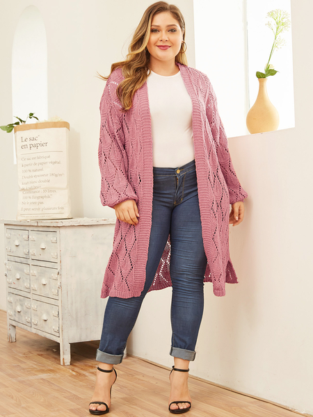 Yoins Plus Size Pink Open Front Cardigan