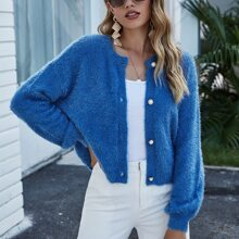 Fluffy Knit Button Front Cardigan