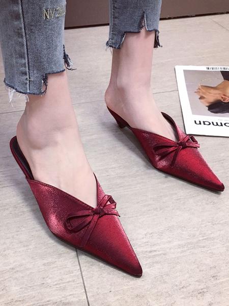 Milanoo Kitten Heel Mules Satin Burgundy Pointed Toe Bow Slip On Slide Shoes