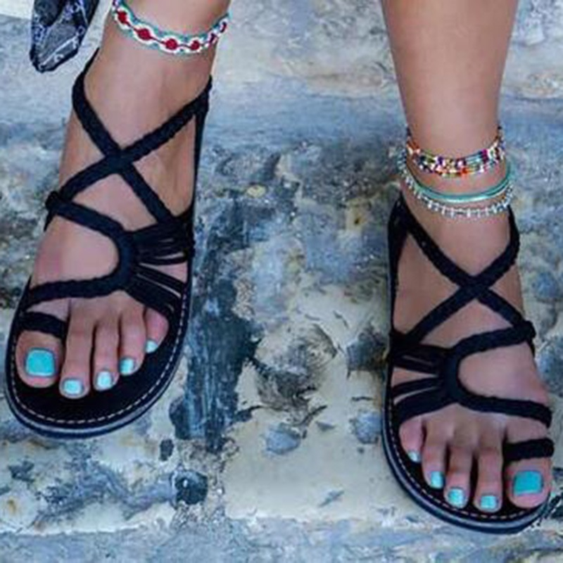 Ericdress Plus Size Woven Strappy Slip-On Flat Sandals