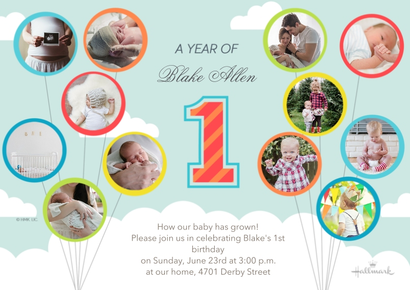 1st Birthday Invitations 5x7 Cards, Standard Cardstock 85lb, Card & Stationery -A Year of Baby - Sky Blue
