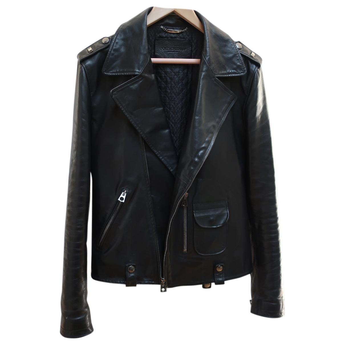 Dolce & Gabbana \N Jacke in  Schwarz Leder