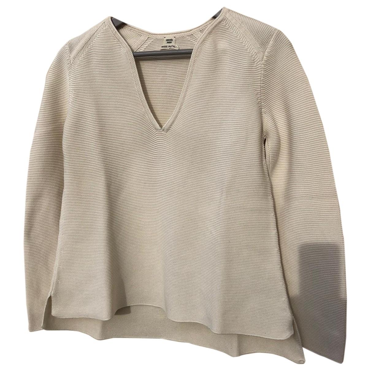 Hermes - Pull   pour femme en coton - beige