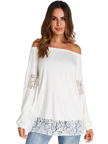 Yoins Kenoce Lace Off The Shoulder Long Sleeves Blouse