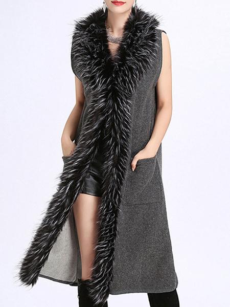 Milanoo Women Winter Coats Grey Faux Fur Neck Sleeveless Maxi Coat