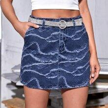 Falda denim con lavado descolorido con bolsillo oblicuo sin cinturon