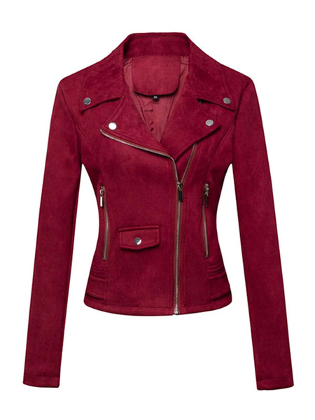 Milanoo Women Motorcycle Jackets Burgundy Turndown Collar Long Sleeve Zip Up Short Jacket