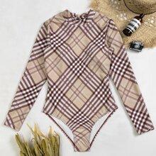 Einteiliger Badeanzug mit Plaid Muster und Ausschnitt hinten
