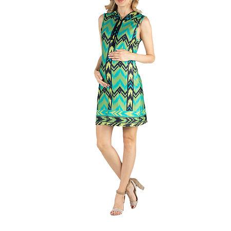 24/7 Comfort Apparel Sleeveless Hoodie Chevron Geometric Dress, Small , Green