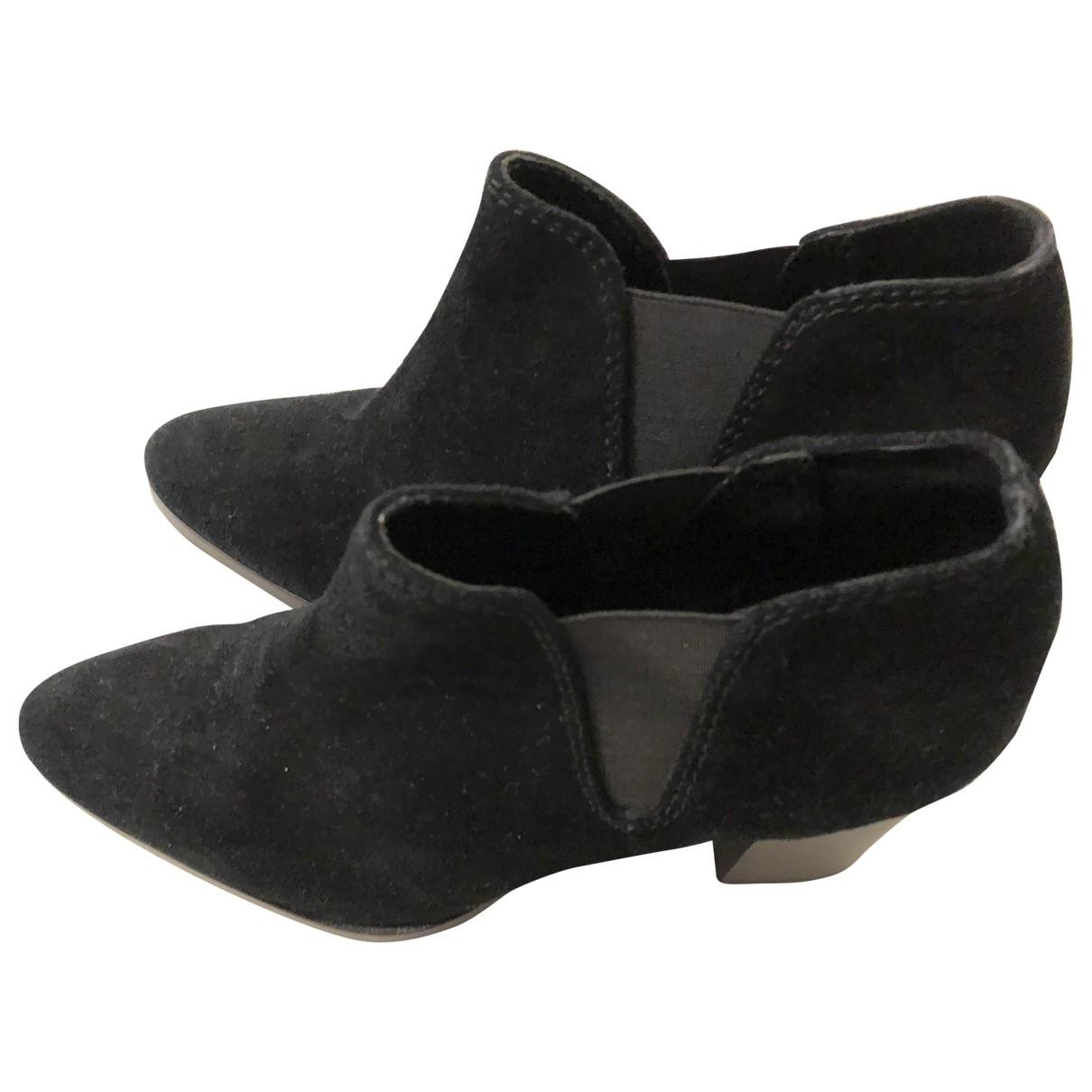 Uterque - Boots   pour femme en suede - noir