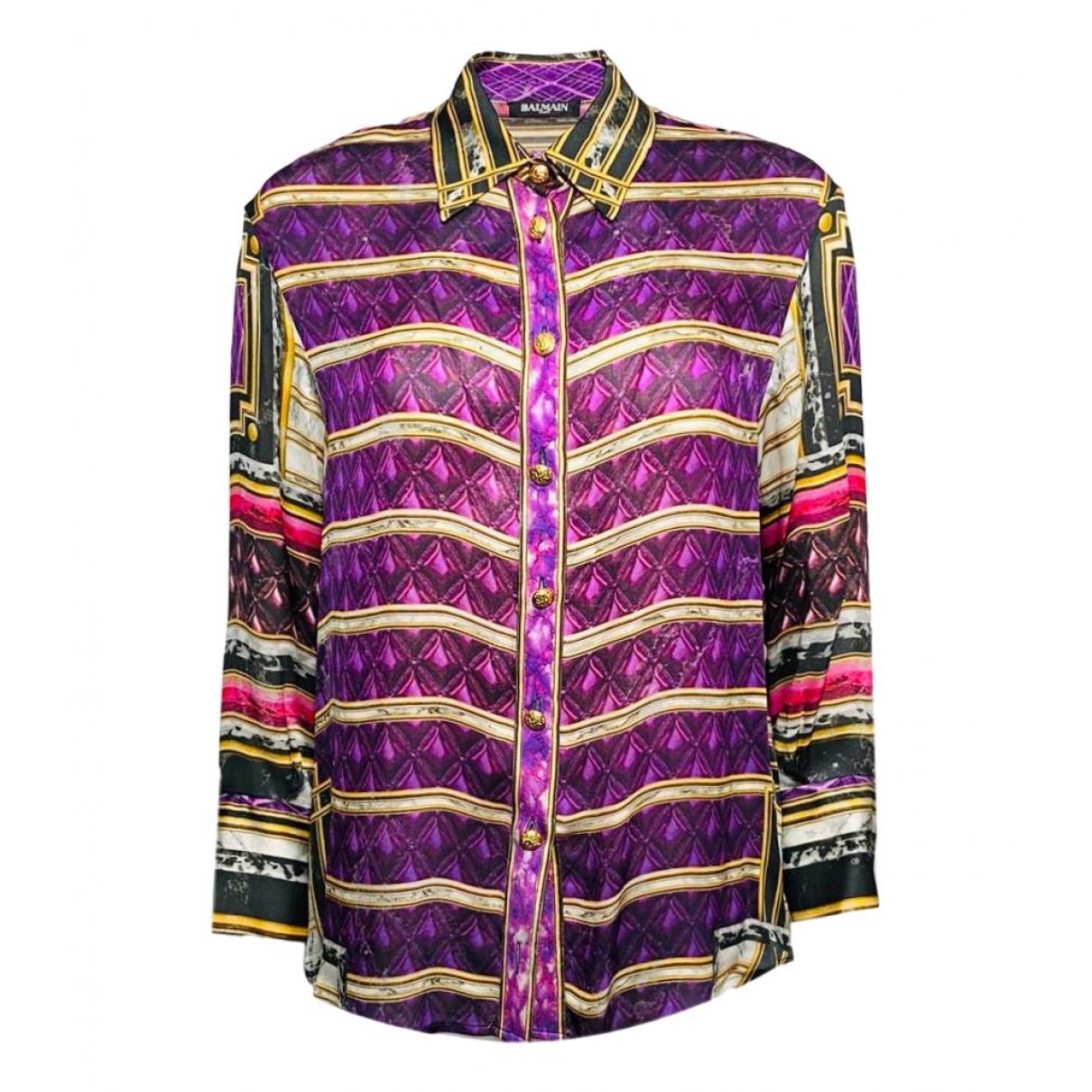 Balmain - Top   pour femme en soie - multicolore