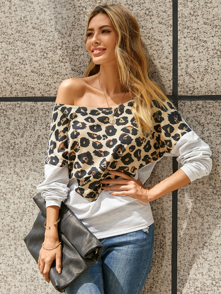 YOINS Leopard Patchwork One Shoulder Long Sleeves Sweatshirt