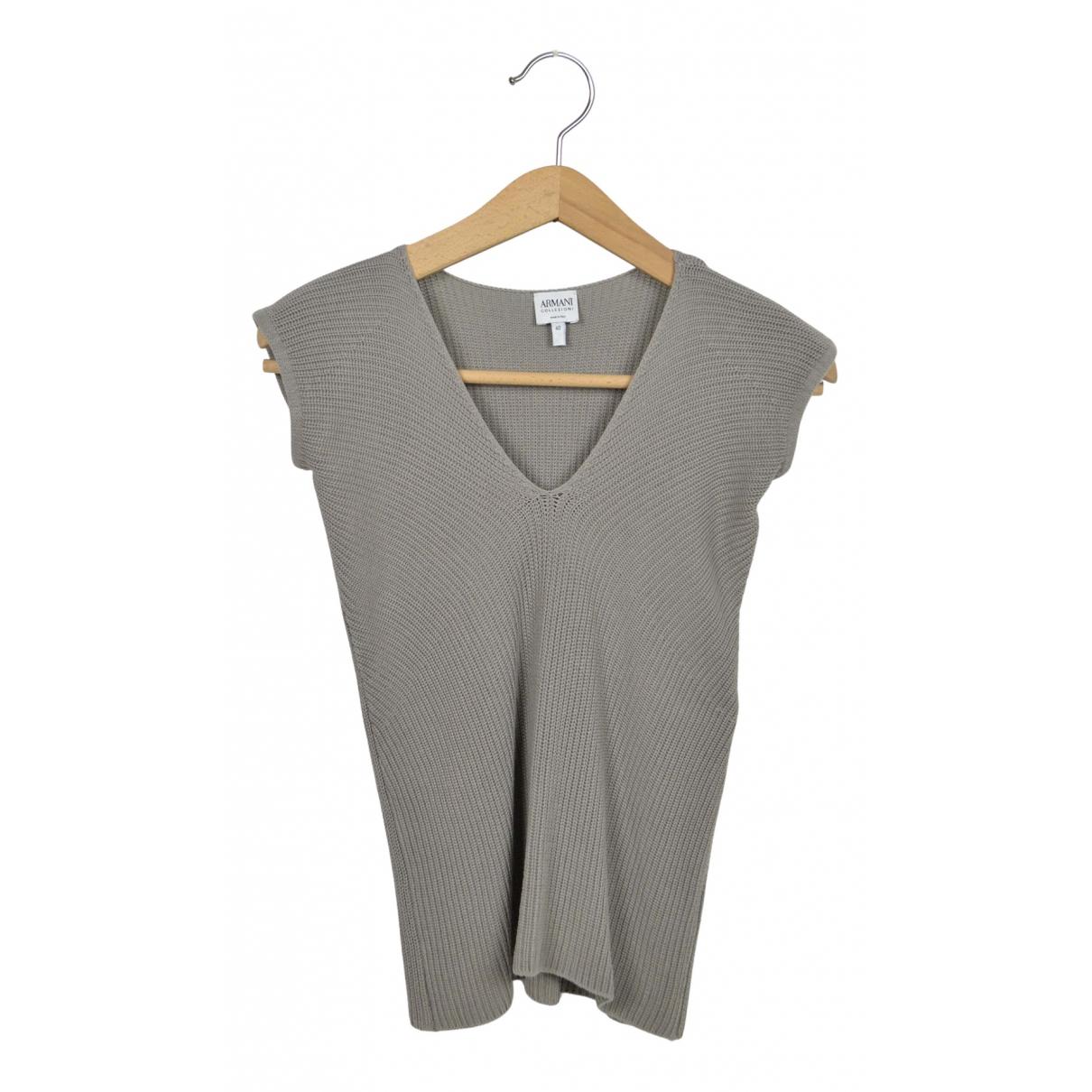 Armani Collezioni - Top   pour femme en coton - gris