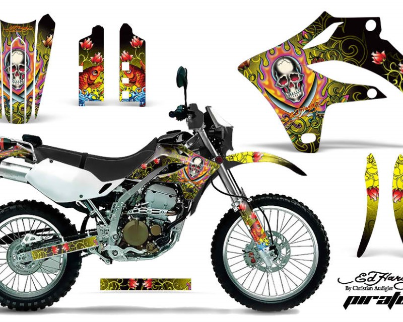 AMR Racing Dirt Bike Graphics Kit MX Decal Wrap For Kawasaki KLX250S 2004-2007áEDHP YELLOW