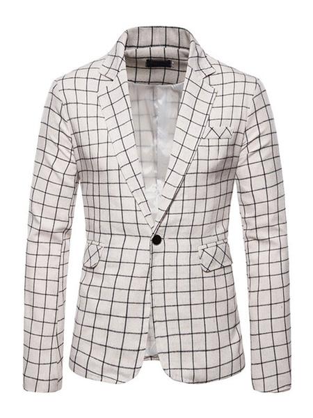 Milanoo Plaid Blazers Jackets Mens Casual Suits