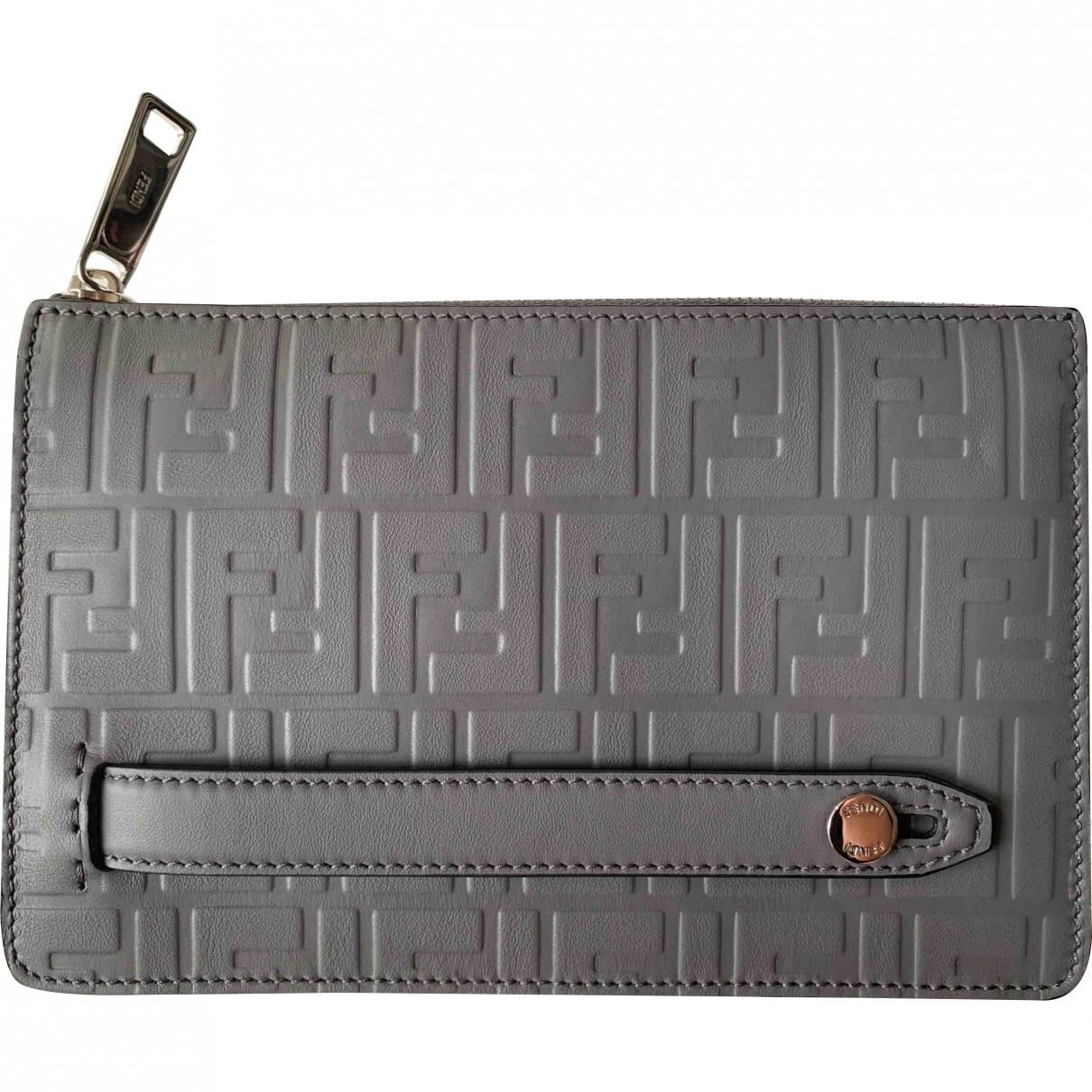 Fendi \N Grey Leather Small bag, wallet & cases for Men \N