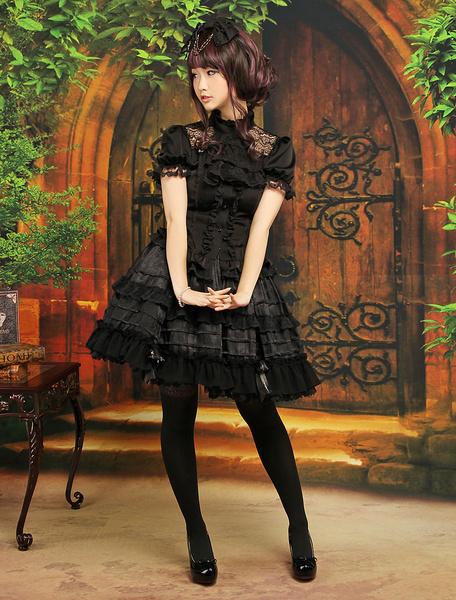 Milanoo Gothic Black Bow Ruffles Jacquard Chiffon Lolita Skirts