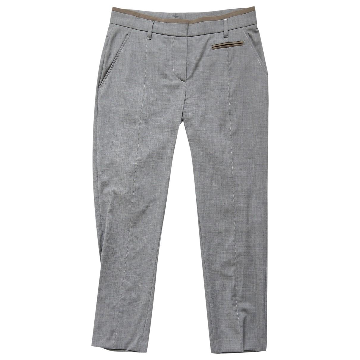 Brunello Cucinelli - Pantalon   pour femme en laine - gris