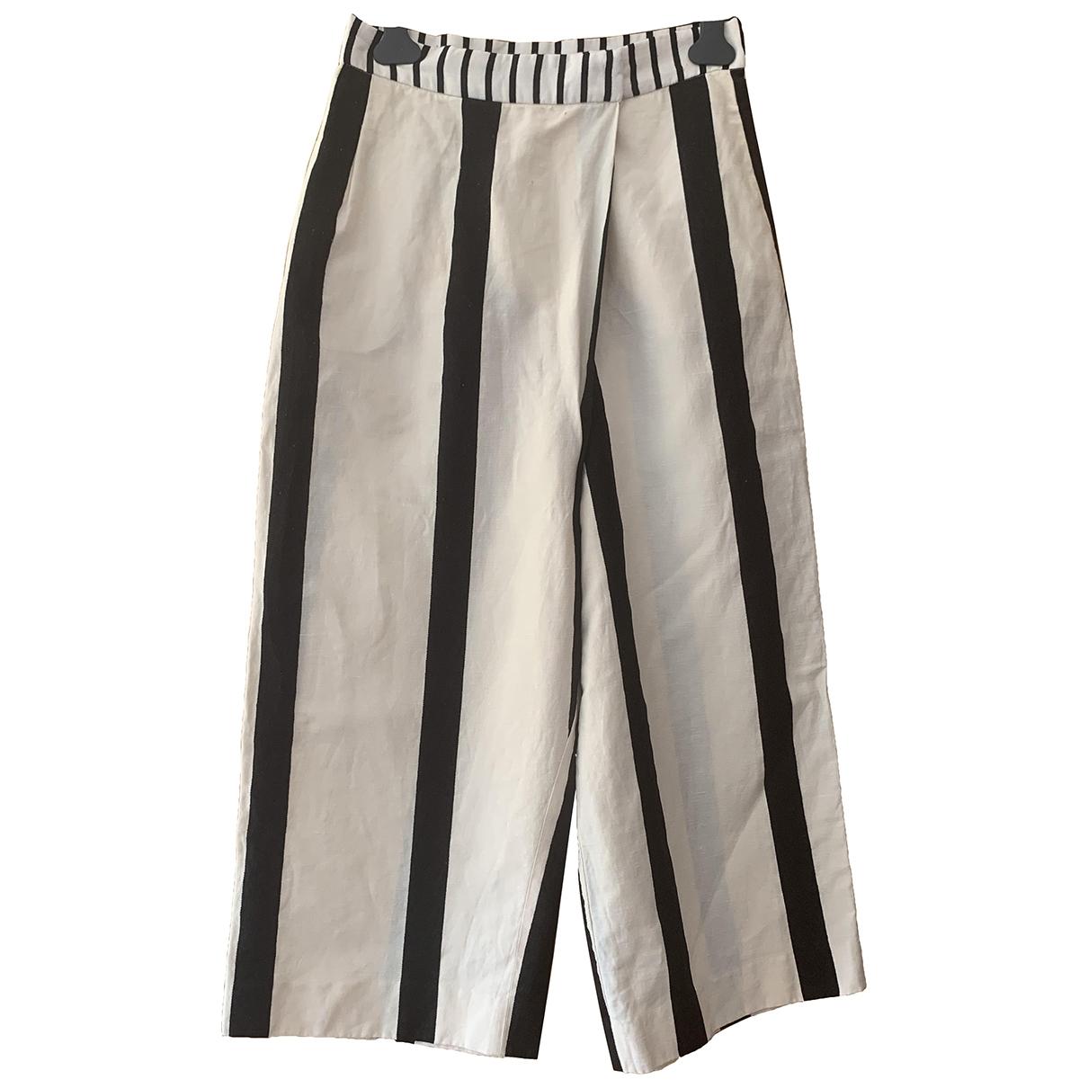 Acne Studios \N Ecru Linen Trousers for Women M International