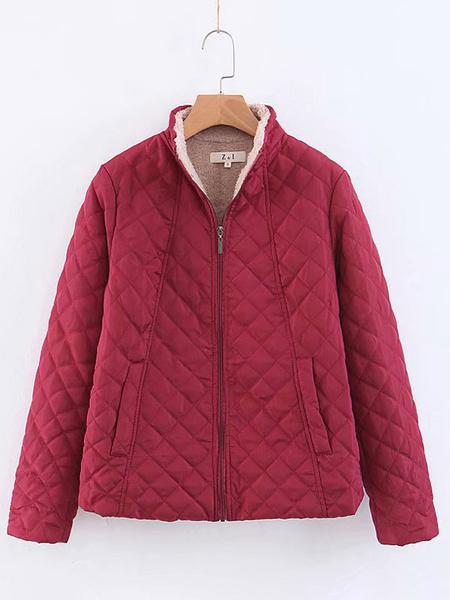 Milanoo Chaquetas de mujer Casual Dating Chaqueta de algodon negra Ropa de abrigo de invierno