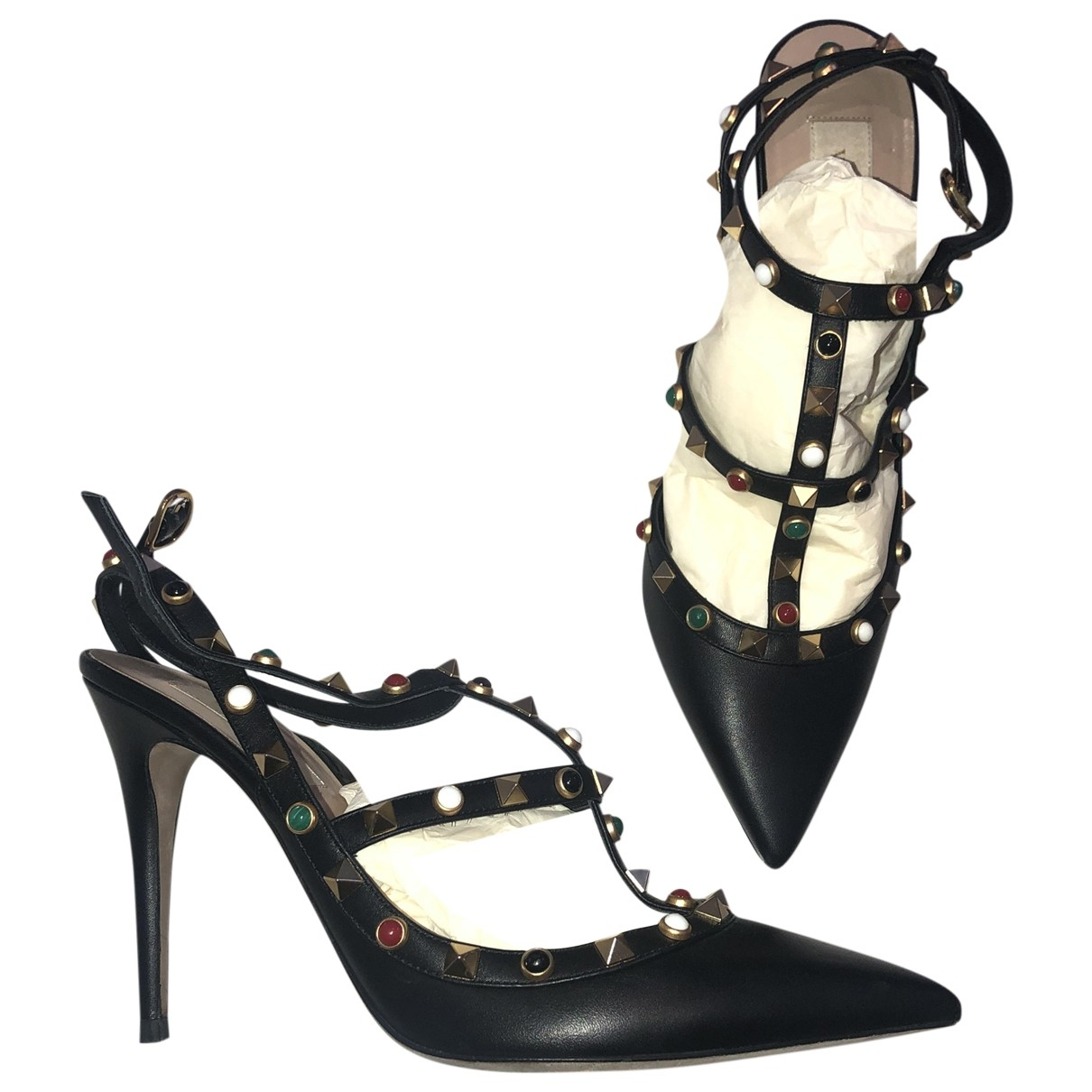 Valentino Garavani Rockstud Black Leather Heels for Women 40 EU