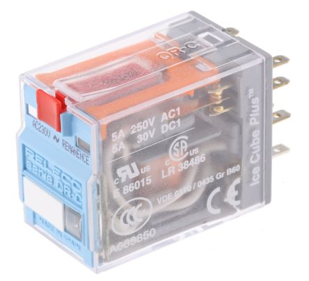 Releco DPDT Plug In Latching Relay - 5 A, 230V ac For Use In Power Applications