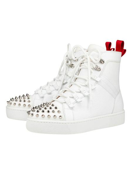 Milanoo Zapatillas altas de hombre Zapatos de skate de punta redonda de piel de vaca con remaches