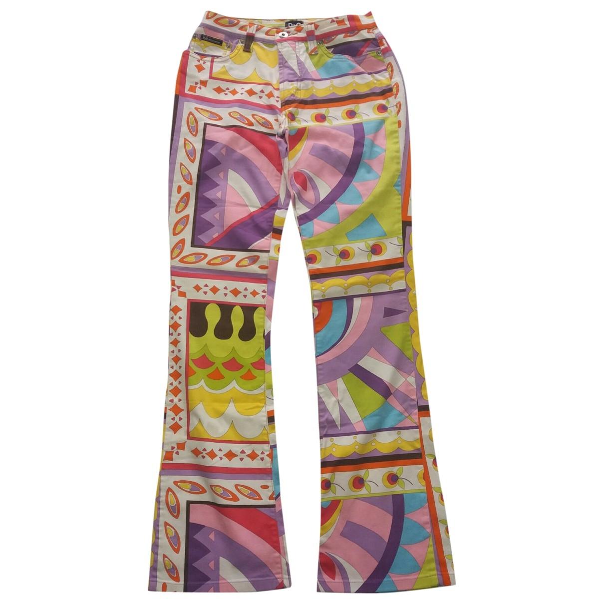 Pantalon en Algodon Multicolor D&g