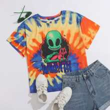 Plus Letter and Alien Print Tie Dye Top