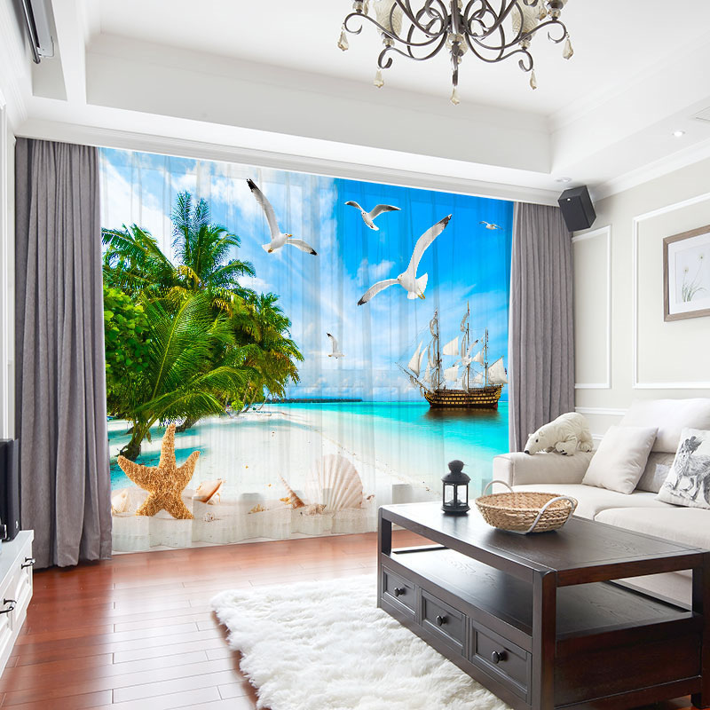 3D Beach View Decoration Chiffon 2 Panels Sheer Curtains for Living Room 30% Shading Rate No Pilling No Fading No off-lining