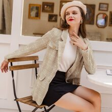 Single Breasted Plaid Tweed Blazer