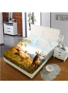 Elk on The Prairie in Autumn Reactive Printing 1-Piece Polyester Bed Cover / Mattress Cover