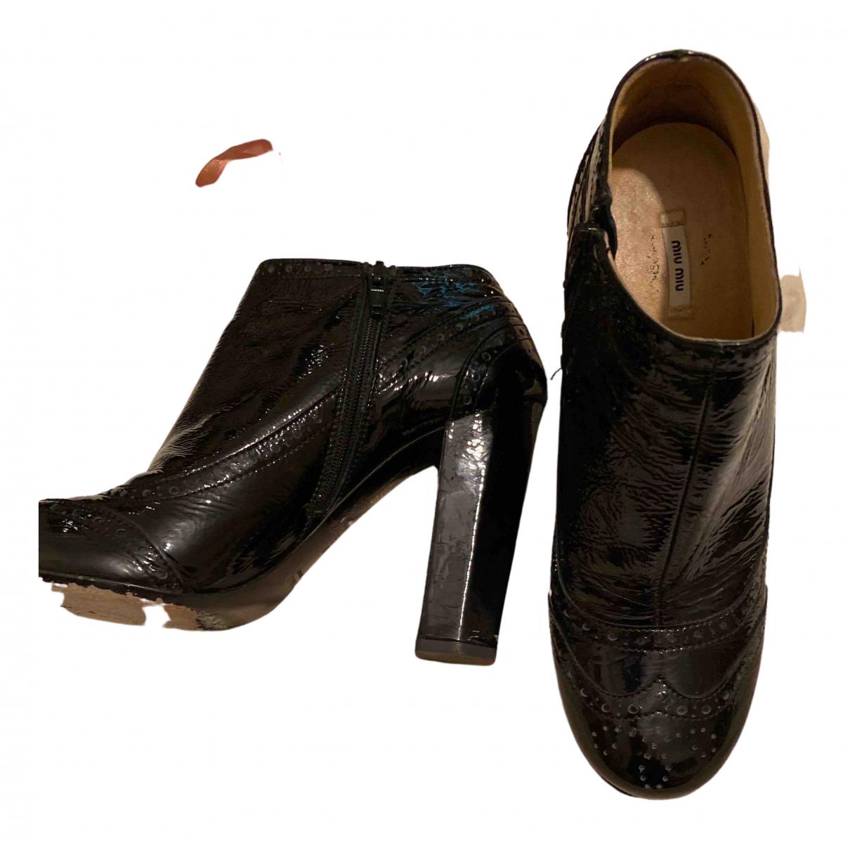 Miu Miu N Black Patent leather Ankle boots for Women 39 EU
