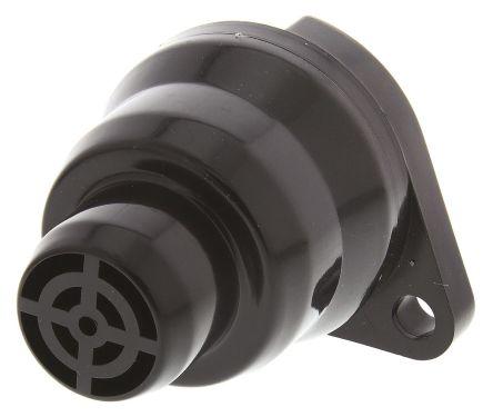 Moflash Black Panel Mount Buzzer, 40 mm Diameter, 12 V dc, 75dB at 1 Metre