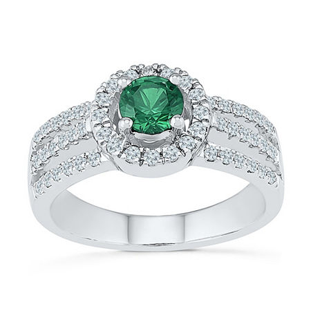Womens 3/8 CT. T.W. Lab Created Green Emerald Sterling Silver Cocktail Ring, 9 , No Color Family