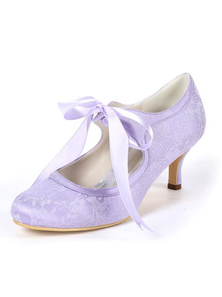 Milanoo Zapatos de novia de encaje Zapatos de Fiesta de tacon de kitten Zapatos lila Zapatos de boda de puntera redonda 6cm