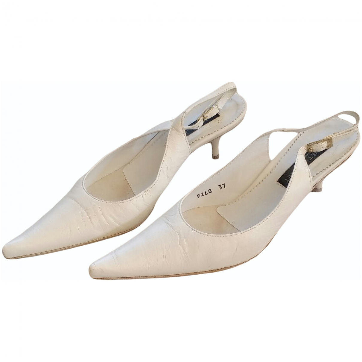 Janet & Janet \N White Leather Sandals for Women 37 EU
