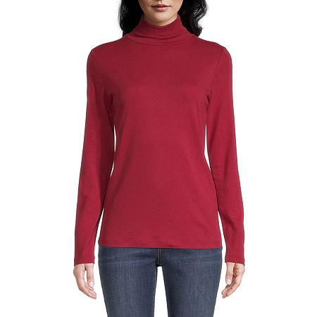 St. John's Bay-Womens Turtleneck Long Sleeve T-Shirt, Medium , Red
