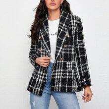 Shawl Collar Buttoned Front Tweed Blazer