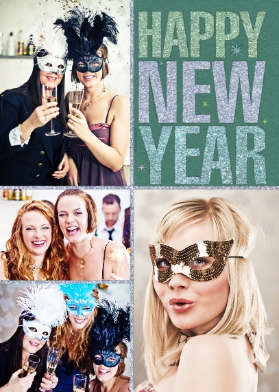 New Year's 5x7 Folded Cards, Standard Cardstock 85lb, Card & Stationery -Happy New Year