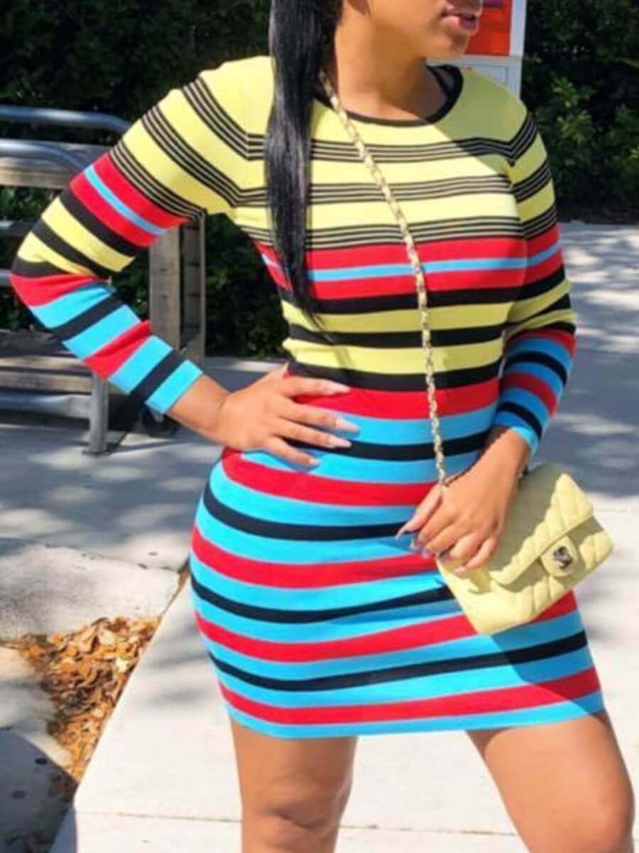LW Lovely Casual Striped Print Multicolor Mini Dress