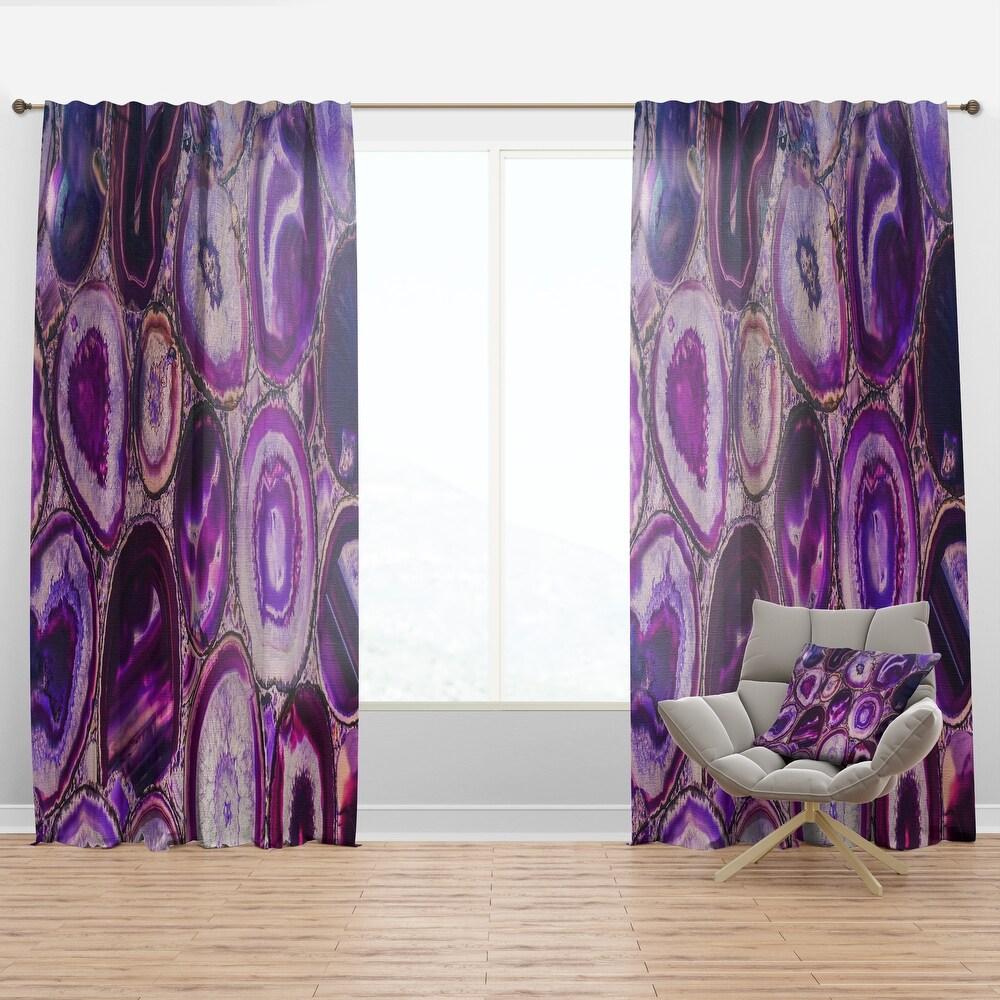 Designart 'Violet Agate geode' Mid-Century Modern Curtain Panel (50 in. wide x 90 in. high - 1 Panel)