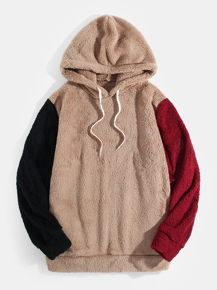Mens Fluffy Plush Patchwork Casaul Drawstring Teddy Hoodie With Pocket