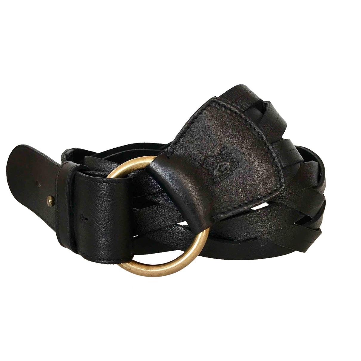 Il Bisonte \N Guertel in  Schwarz Leder