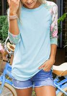 Floral O-Neck T-Shirt Tee - Sky Blue