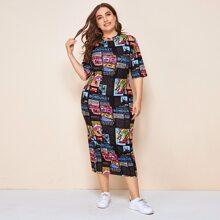 Plus Pop Art Print Dress
