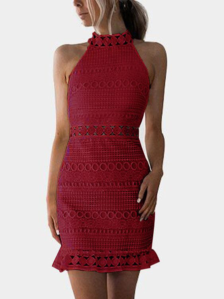 Yoins Red Lace Cut Out Design High Neck Sleeveless Dress