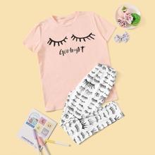 Maedchen T-Shirt mit Buchstaben Muster und Hosen PJ Set