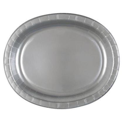 Assiette en carton ovale couleur unie, 8pcs - Argent