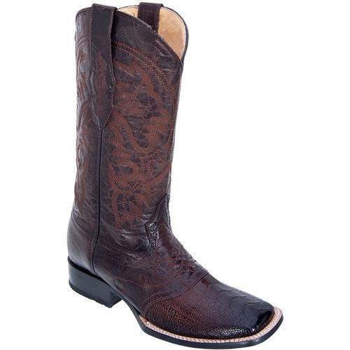 Men's Los Altos Brown Ostrich Leg W/ Saddle Vamp Wide Square Toe Boots